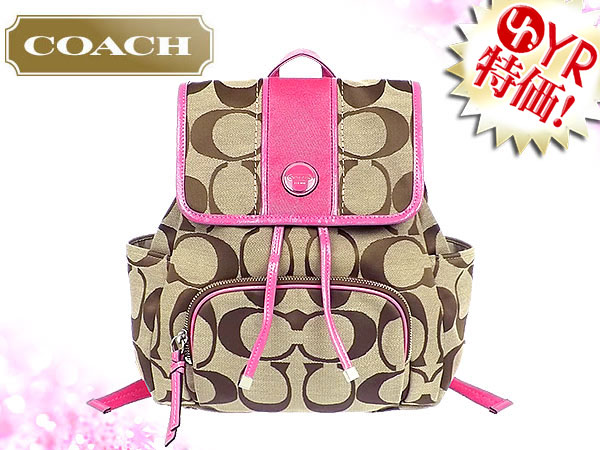 And writing coach COACH ☆ reviews! Bag (backpack) F21928 khaki x Mulberry  signature stripe backpack outlet product discount % Ladies back sale SALE  store db1a70b584