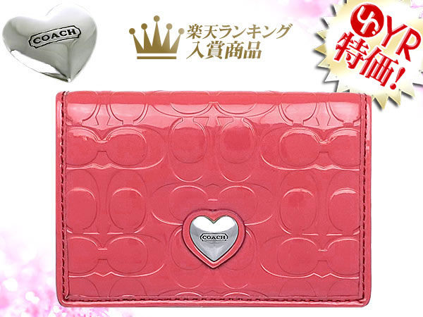 Import collection rakuten global market coach coach accessory coach coach accessory card holders f66113 coral embossed signature liquid gloss heart business card case outlet product discount womens sale sale colourmoves