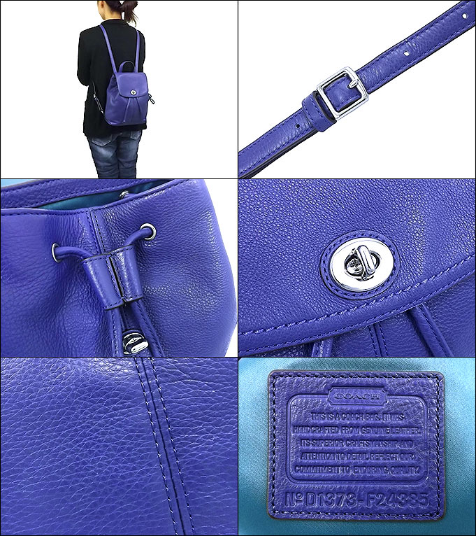 83d787fee Coach COACH ☆ bag (backpack) F24385 24385 French blue Parker leather  backpacks outlet products