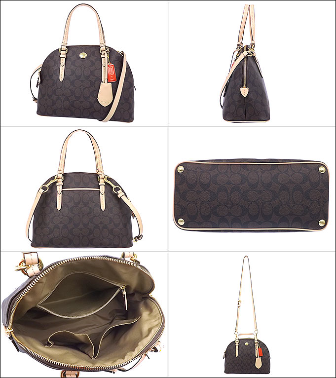 Coach COACH ☆ bags (handbags) F26184 26184 Brown × Tan Peyton signature  Cola ドームド satchel outlet products 10bc93202a