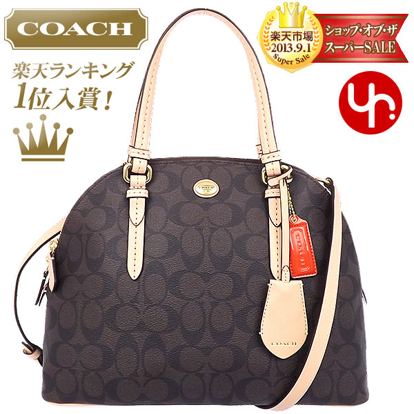 And writing coach COACH ☆ reviews! Bags (handbags) F26184 Brown × Tan  Peyton signature Cola ドームド satchel outlet products cheap! 593832f707