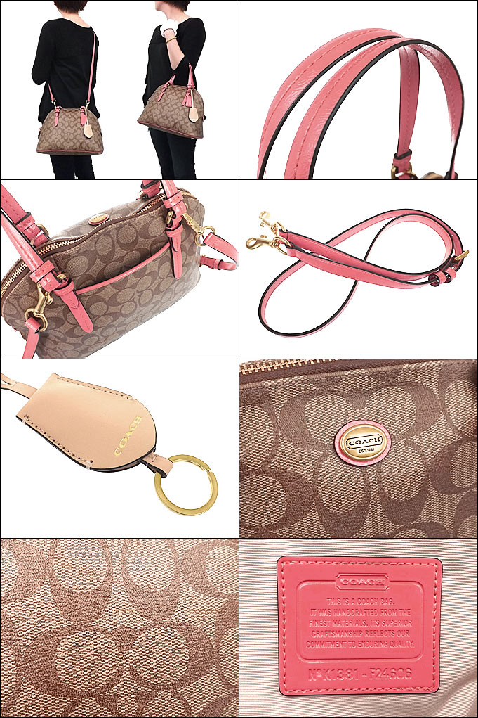 Coach COACH ☆ bags (handbags) F24606 24606 khaki   coral Peyton signature  Cola domed satchel outlet products 07b70fe32e