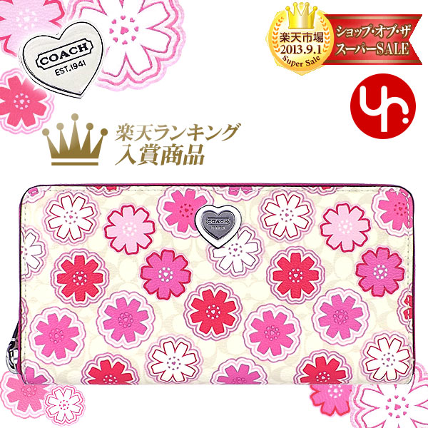 Coach COACH wallets purse F50672 white multi color review and next time  coach signature floral & heart print accordion zip around products at  outlet