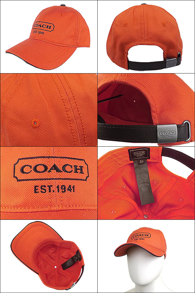 Coach COACH ☆ apparel (hats) F83656 papaya canvas baseball cap outlet  products cheap! Men s women s brand sale store SALE 2014 mother day YR  limited price 3bd65839d62