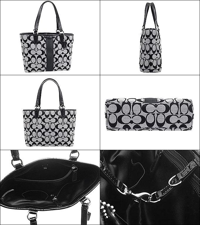2b5e3cf9f0 Coach COACH ☆ bags (handbags) F51156 51156 black / white signature stripe  12 CM signature top handle Tote outlet products