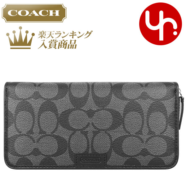 And writing coach COACH ★ reviews! Purse (wallet) F74737 Charcoal Black Heritage signature accordion zip wallet outlet products cheap! Men's women's