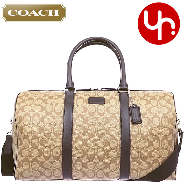 Coach Bag Boston F93303 Khaki X Brown Heritage Signature Stripe Duffle Outlet Products Men S Women Brand Also Travel