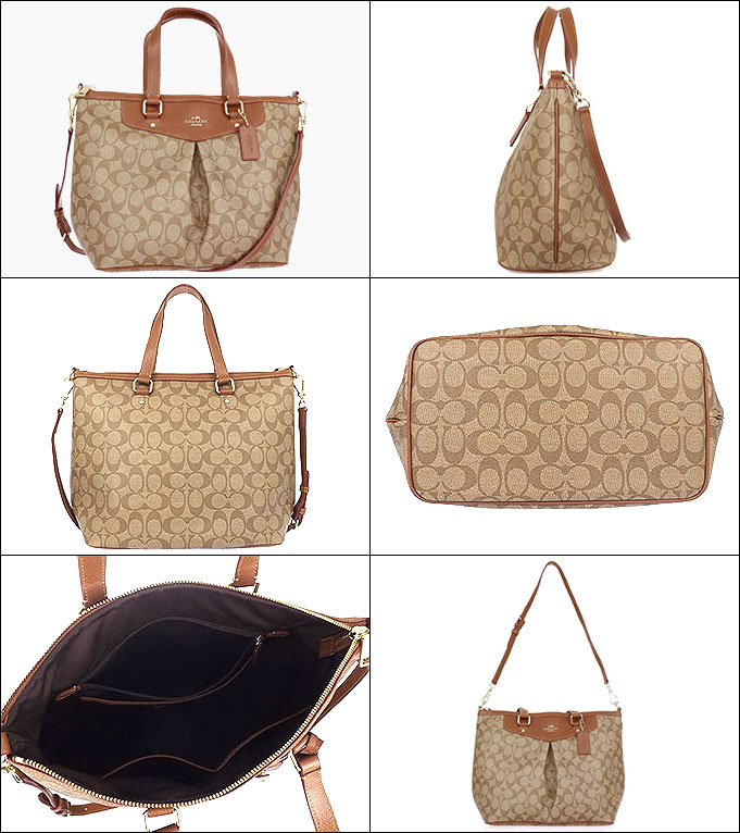 Coach COACH ☆ bags (tote bag) F34614 34614 khaki   saddle luxury signature  pleated Tote outlet products 42161d9adb121