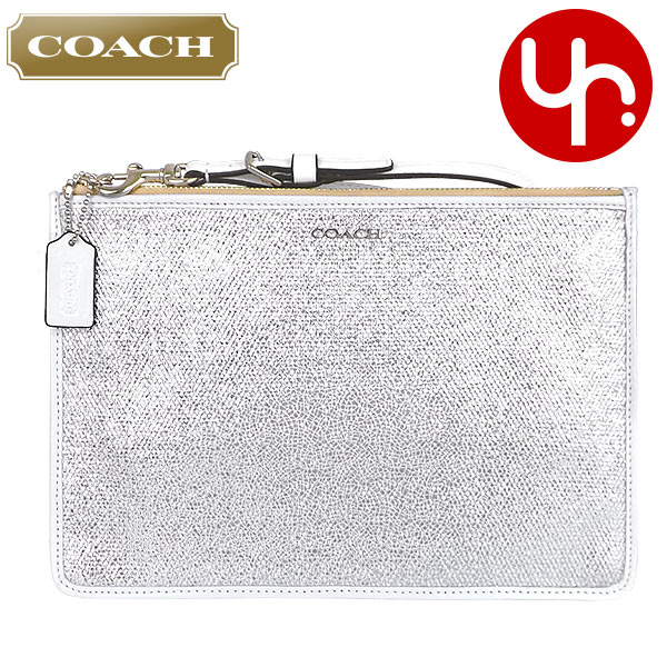 coupon for coach outlet ja1i  Coach COACH  coupon offers! Accessories pouch F51397 white Bleecker  metallic Crackle canvas