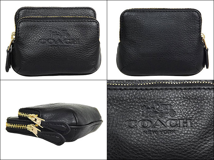 Coach COACH ☆ coupon offers! Cheap purses (coin) F63314 black COACH pebbled  leather double zip coin wallet outlet products! Women s brand sale store  SALE ... 884ec49b633