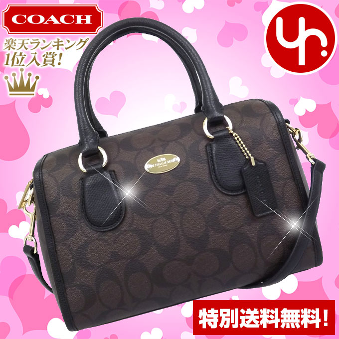 b616cc490 And writing coach COACH ☆ reviews! Brown Bag (shoulder bag) F34084 × black  luxury signature Bennett Mini Satchel outlet products cheap!