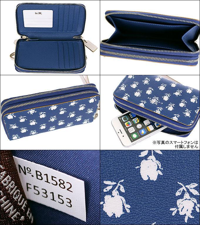 a20f24d71866 コーチ COACH☆財布(二つ折り財布)F53153 53153 ブルーマルチカラー バッドランズ フローラル ダブル ジップ フォン ウォレット  アウトレット品