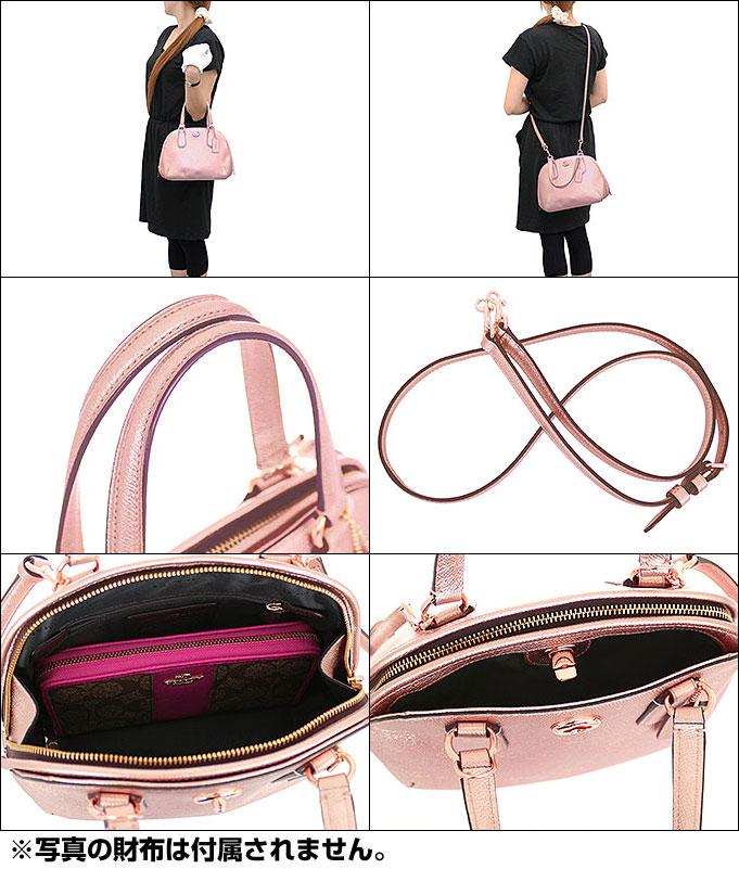 39079b346ee1 ... sale coach coach coach bag handbag f35330 rose gold prince metallic  cross grain leather mini satchel