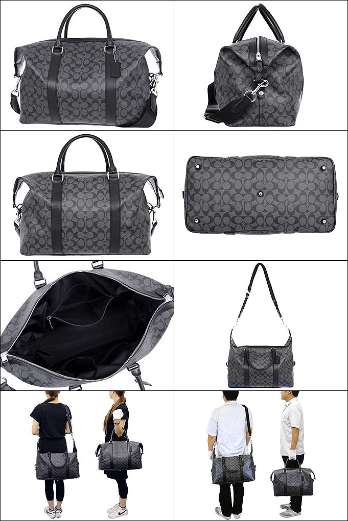 8b9feb96a8e7 COACH bag coach ☆ (Boston) F93456 93456 charcoal x black signature Explorer  roller Duffel outlet products