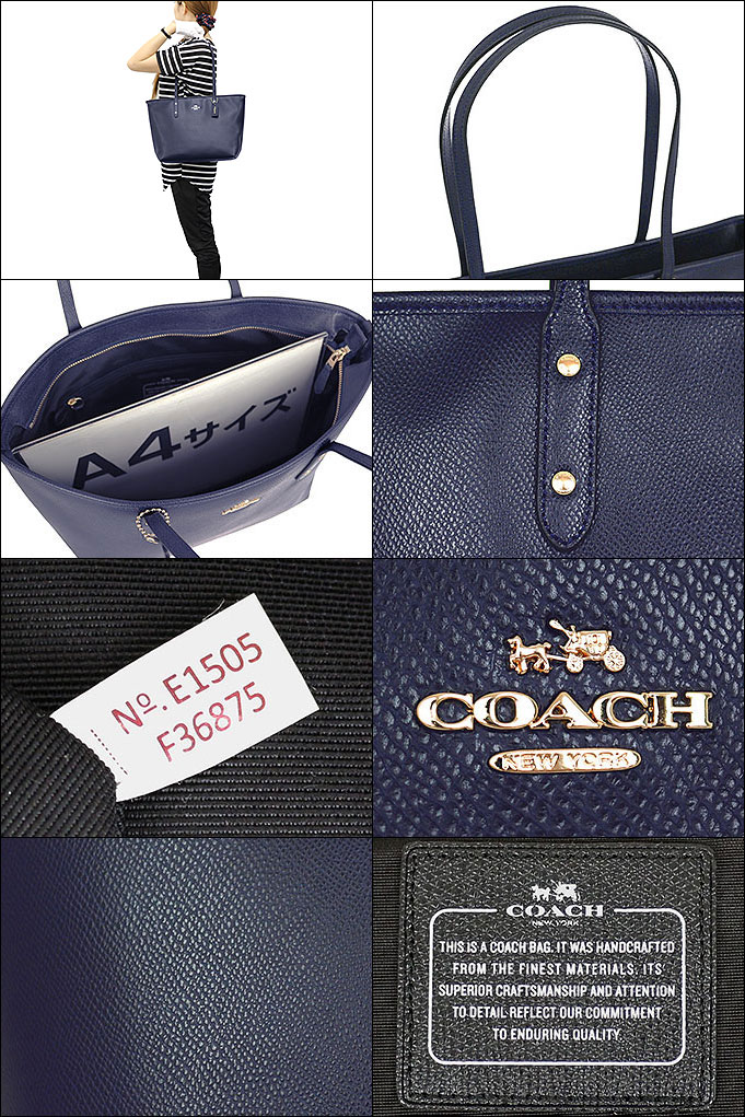f710ca6f03 Coach COACH ☆ bags (tote bag) F36875 36875 midnight luxury cross-grain  leather city zip top Tote outlet items