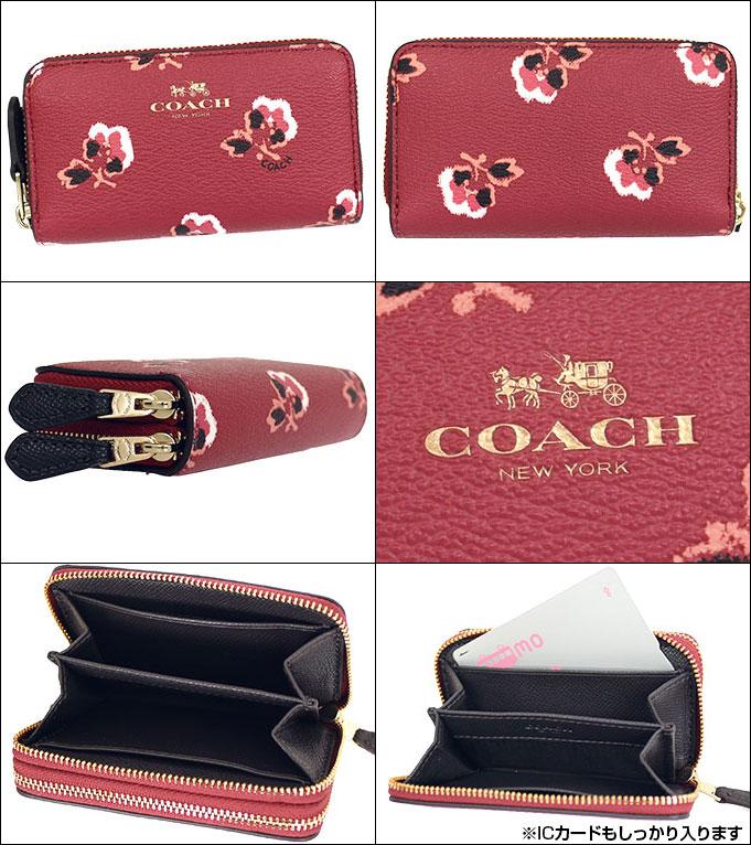 重要的是特别教练教练钱包硬币钱包 F64066 腹部多彩色荆棘玫瑰印花的皮革小双拉链硬币钱包产品在出口价格便宜女装品牌销售店出售 2015 年有限价格 02P12Oct15