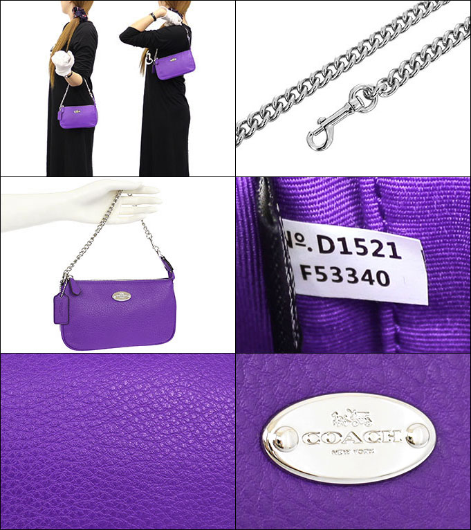 ... italy special coach coach bag handbag bag f53340 purple iris luxury  pebbled leather large wristlet products 0ea62048b4