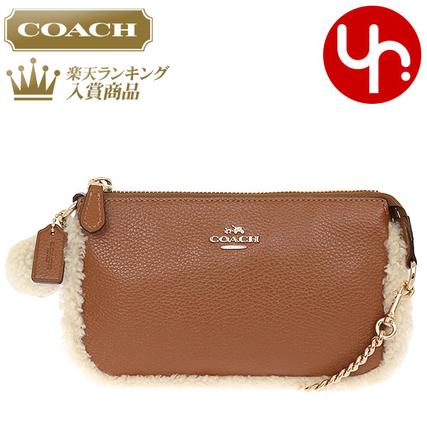 Special Coach Bag Handbag F64705 Saddle X Natural Shearling Mix Pebbled Leather Large Wristlet Products At Outlet Prices Womens Brand