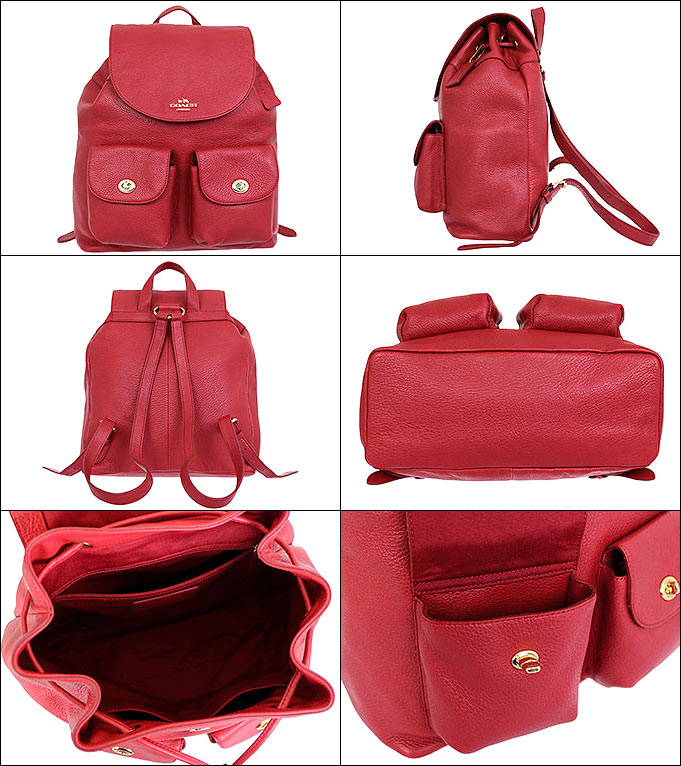 9d9b9cd0e2e3 Coach COACH ☆ bag (backpack) F37410 37410 classic red pebbled leather Billy  backpacks outlet products