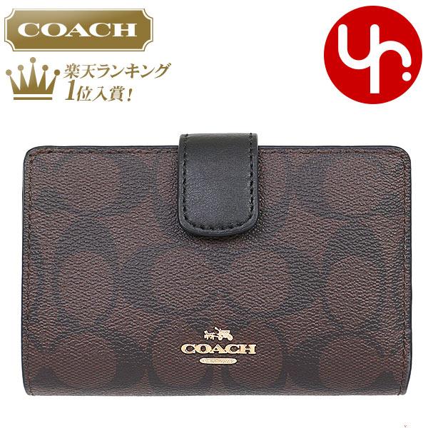 eef6550fc02d コーチCOACH財布二つ折り財布F54023ブラウン×ブラック特別送料無料コーチラグジュアリーシグネチャー