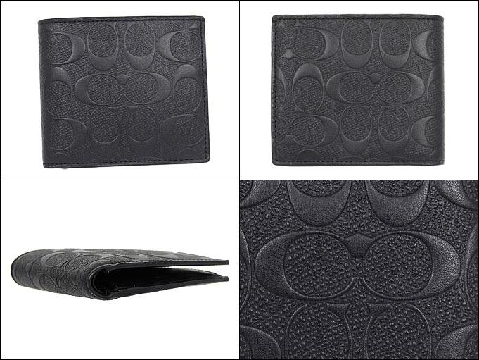 c4cd95d63aab コーチCOACH財布二つ折り財布特別送料無料F75363ブラックコーチデボスドシグネチャークロス