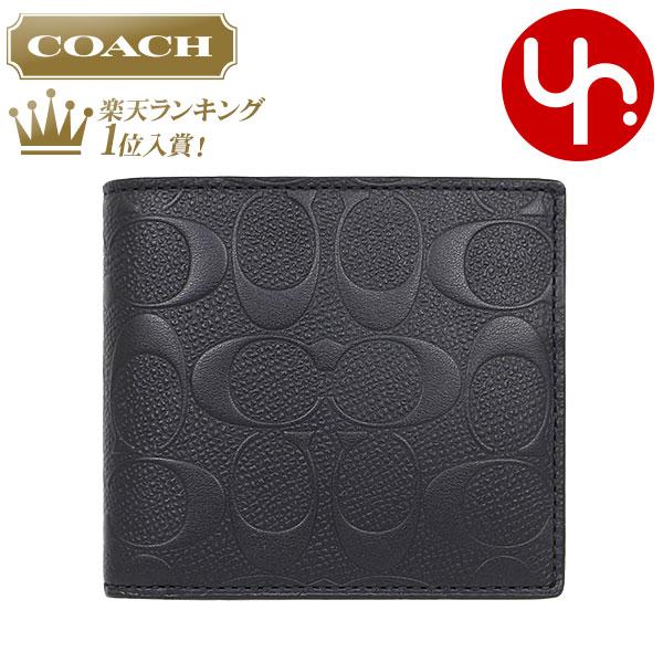 5094e311b375 コーチCOACH財布二つ折り財布F75363ブラック特別送料無料コーチデボスドシグネチャークロス