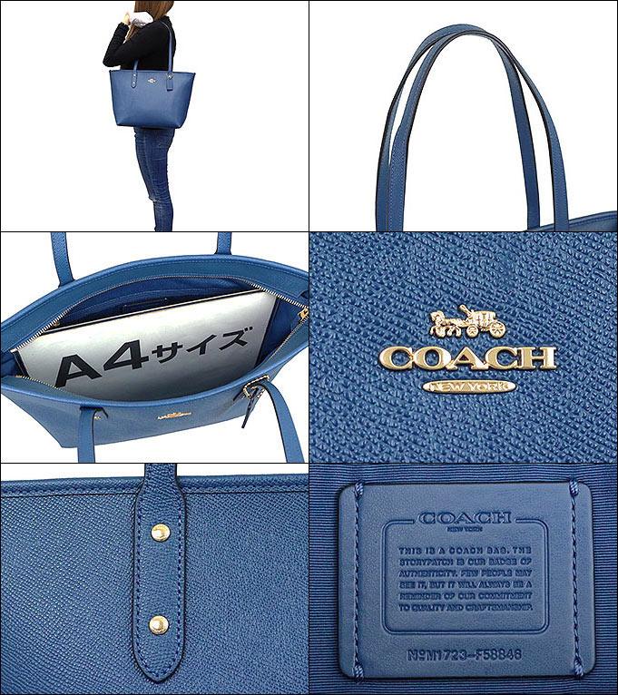 fad40e762e37 コーチ COACH☆バッグ(トートバッグ)F58846 58846 インクブルー ラグジュアリー クロスグレーン レザー シティー ジップ トップ トート  アウトレット品