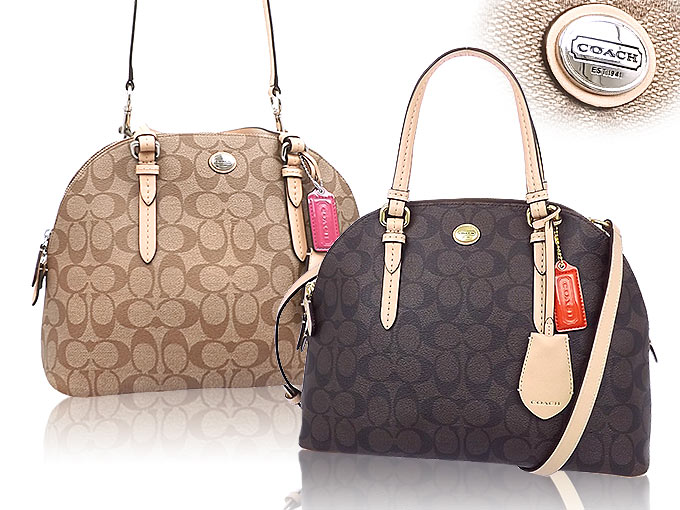 And writing coach COACH ☆ reviews! Bags (handbags) F26184 Brown × Tan  Peyton signature Cola ドームド satchel outlet products cheap! 9829931a2c184