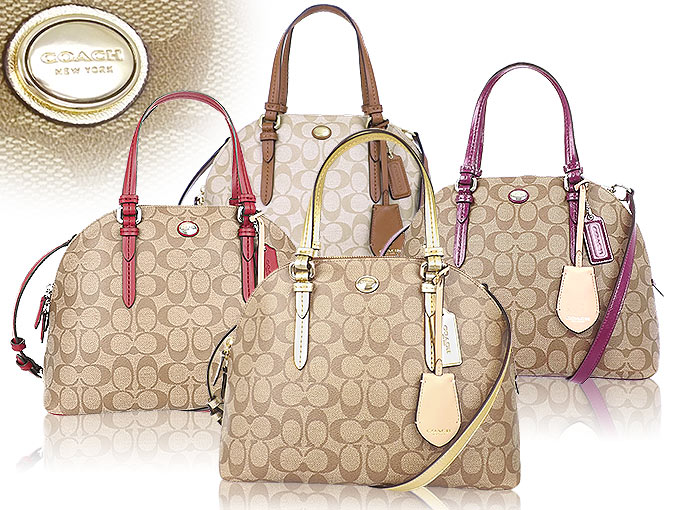 And writing coach COACH ☆ reviews! Bags (handbags) F24606 light khaki x  Strawberry Peyton signature Cola ドームド satchel outlet products cheap! Women s  ... 5c24c3edbe