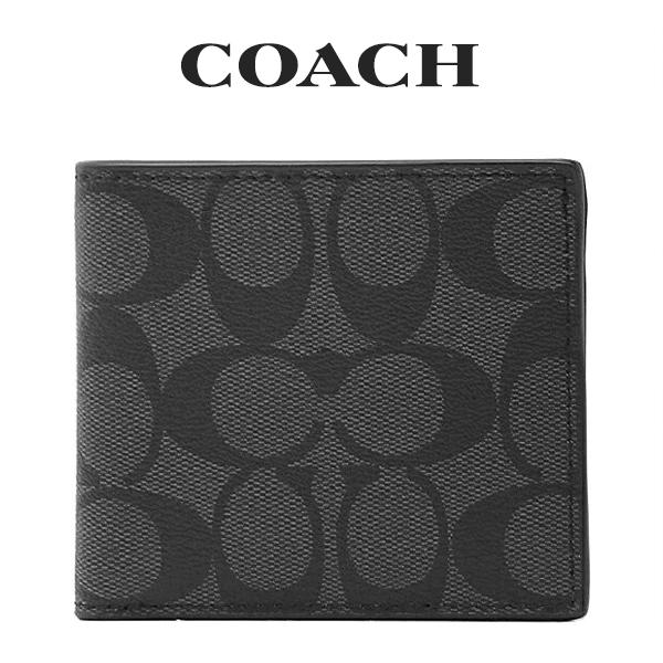 コーチ COACH メンズ 財布 二つ折り財布 75006 CQ/BK(チャコール×ブラック)