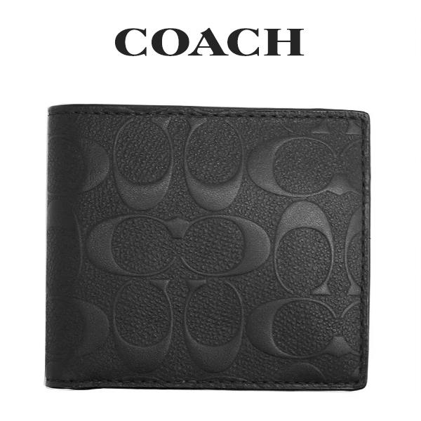 コーチ COACH メンズ 財布 シグネチャークロスグレインレザーコインウォレット/二つ折り財布 75363 BLK(ブラック)