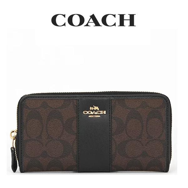 コーチ COACH レディース 財布 ラウンドジップ長財布 長財布 F54630 IMAA8(ブラウン×ブラック)