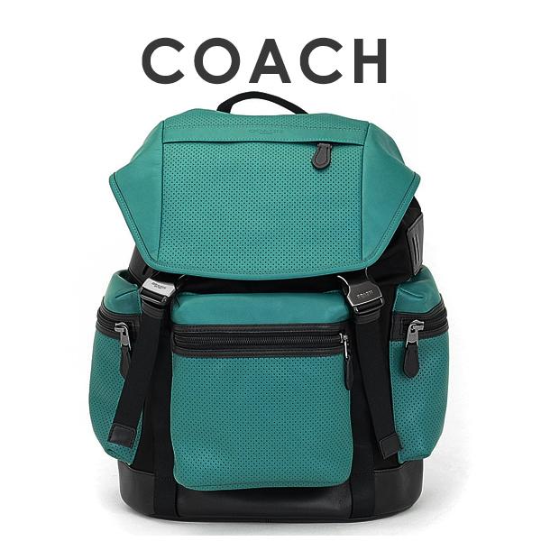 コーチ COACH メンズ 送料無料 パフォレイテッド ミックスド マテリアル テレイン トレック バックパック リュックサック 57477 LL7(グリーン×ブラック)