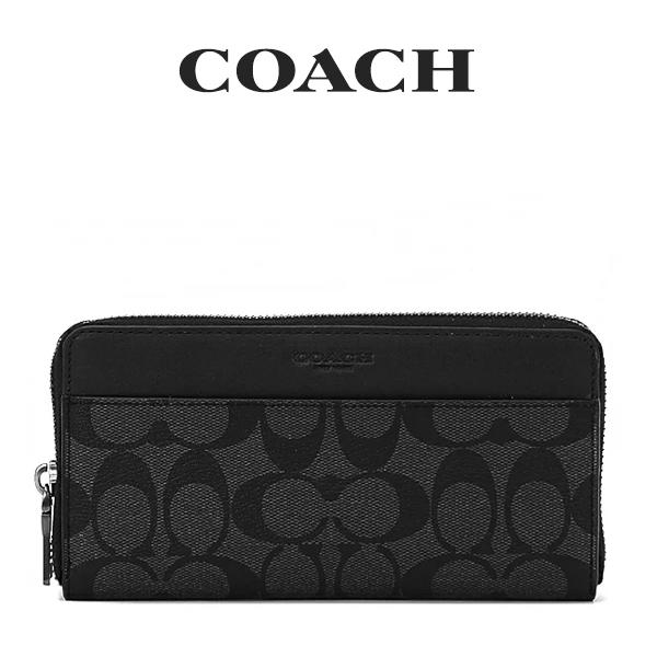 コーチ COACH メンズ 財布 長財布 F58112 CQ/BK(チャコール×ブラック)