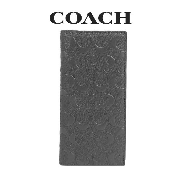 コーチ COACH メンズ 財布 二つ折り長財布 91636 QB/BK(ブラック)【FKS】