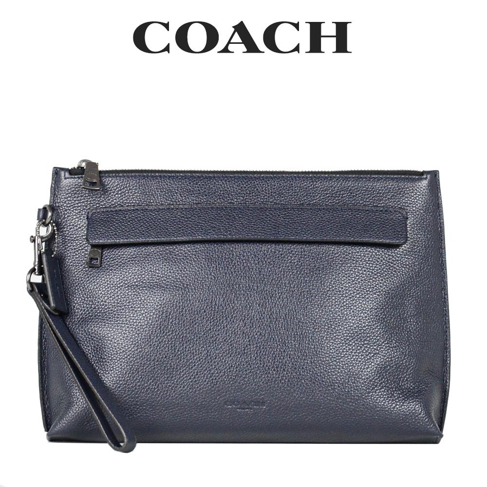 やわらかなペブルレザーを使用した高級感漂うクラッチバッグ コーチ COACH メンズ バッグ MID セカンドバッグ ミッドナイト F28614 ネイビー 10%OFF ラッピング無料