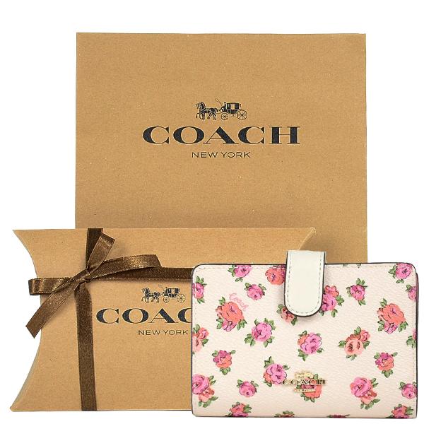 【コーチ箱ラッピング・紙袋付き】 ギフトセット コーチ COACH レディース 財布 二つ折り財布 67660 GDOLS(チョーク×ヴィンテージローズ)