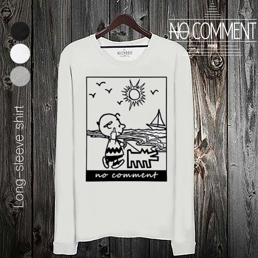NO COMMENT PARIS ノーコメントパリ 長袖 Tシャツ ブラック ホワイト メンズ 大きい 小さい ビーチ ドッグ beach dog-NCP304 TEE SHIRT TENDANCE[衣類]