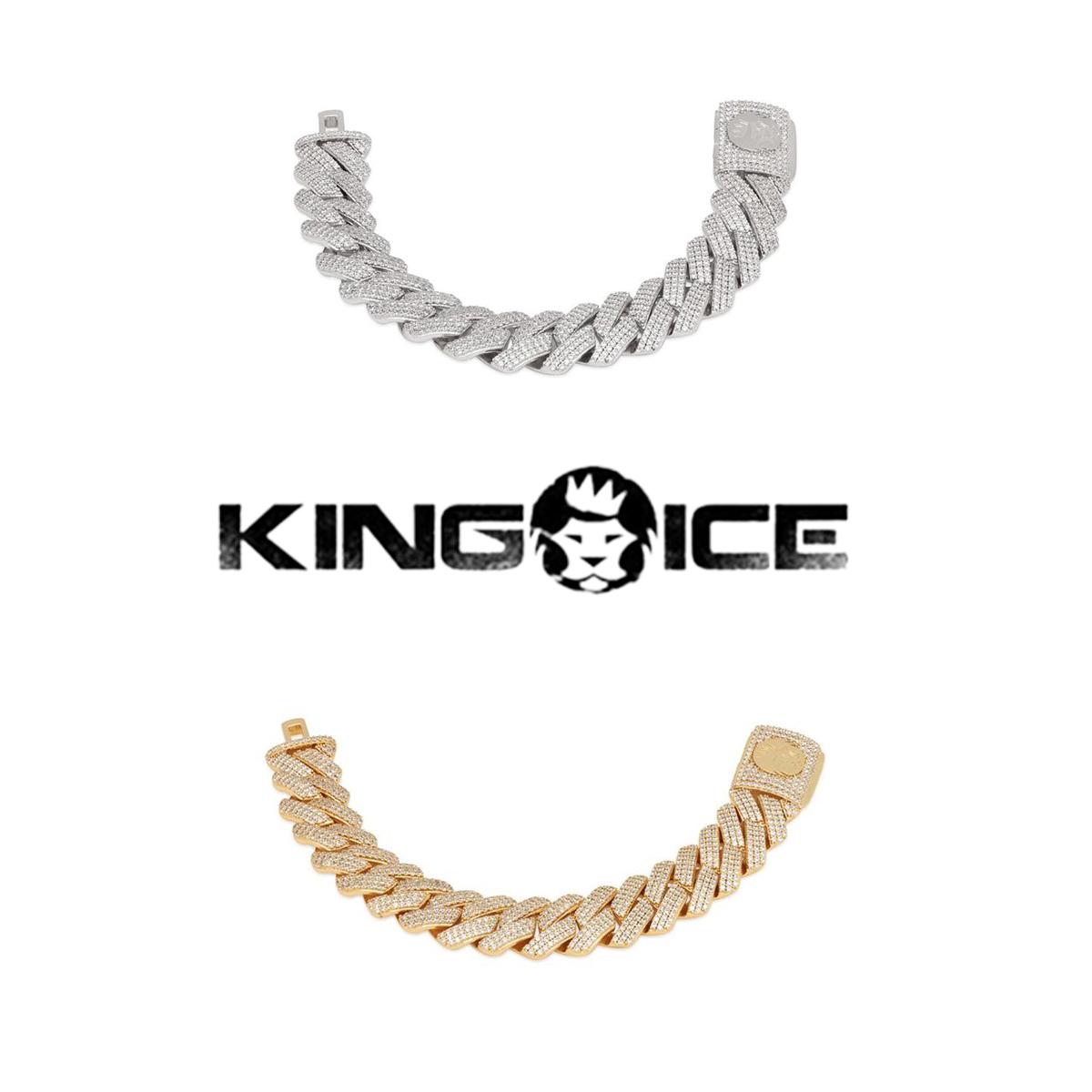 送料無料 KING ICE 登場大人気アイテム キングアイス ブレスレット 18MM ICED DIAMOND CUT MIAMI 人気 格安激安 CUBAN BRACELET 14kゴールド メンズ アクセサリー 金 ブランド 14Kゴールドメッキ ホワイトゴールドメッキ