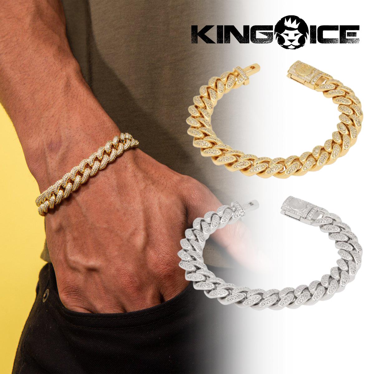 送料無料 アウトレット KING ICE キングアイス ブレスレット 12MM ICED MIAMI メンズ 14Kゴールドメッキ 新作入荷 ホワイトゴールドメッキ CUBAN BRACELET 人気 ブランド アクセサリー
