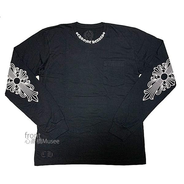 クロムハーツ ロンT ≪新品≫正規品 メンズ 長袖Tシャツ ブラック 黒 海外限定 ネックロゴ フローラルクロス 送料無料/新品 バックプリント ホースシュー Lsize hearts black Long Tshirts クロスボール ロングスリーブ シャツ Chrome Lサイズ sleeves