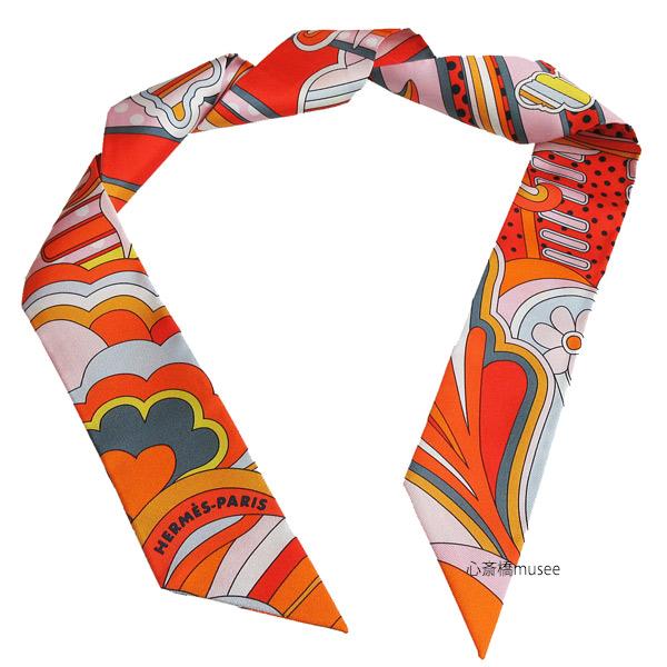 【キャッシュレス5%還元対象】≪新品≫エルメス ツイリー「フォーブル レインボー」Faubourg Rainbow オレンジ×ローズ×グリス TWILL Orange/Rose/Gris HERMES TWILLY