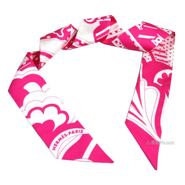 【キャッシュレス5%還元対象】≪新品≫エルメス ツイリー「フォーブル レインボー」Faubourg Rainbow ローズヴィフ×ブラン ピンク 白 ROSEVIF BLANC TWILL HERMES TWILLY 箱 リボン ラッピング