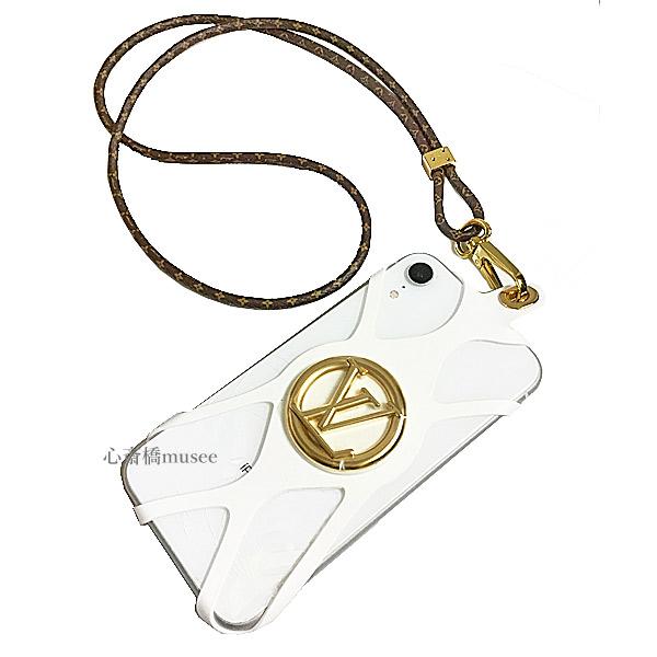 【キャッシュレス5%還元対象】≪新品≫ ルイヴィトン フォンホルダー・ルイーズ M68962 LOUISVUITTON ブロン 白 ゴールド金具 モバイル 箱 リボン ラッピング iPhone アイフォン スマホ 携帯ケース カバー ストラップ スマートフォン