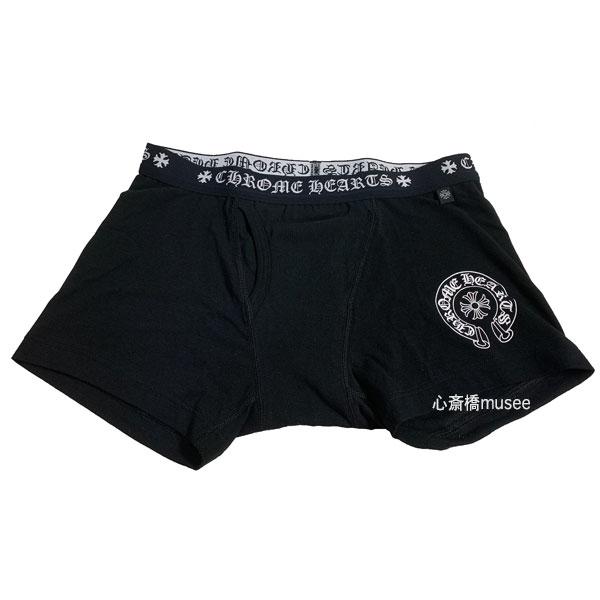 【キャッシュレス5%還元対象】《新品》 CHROMEHEARTS クロムハーツ SHORT BOXER ショート ボクサー パンツ 黒 M BLACK ブラック ホワイトロゴ メンズ 箱 ショッパー プレゼント 正規品