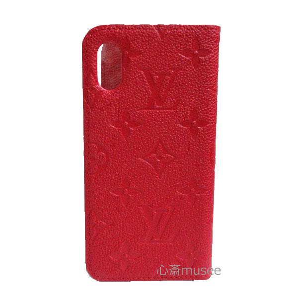 【キャッシュレス5%還元対象】≪新品≫ルイヴィトン iphone X 10 10S フォリオ モノグラム アンプラント スカーレット レッド 赤 二つ折り スマホ 携帯ケース アクセサリー モバイル M63588 LOUISVUITTON ビトン アイフォンケース プレゼントラッピング