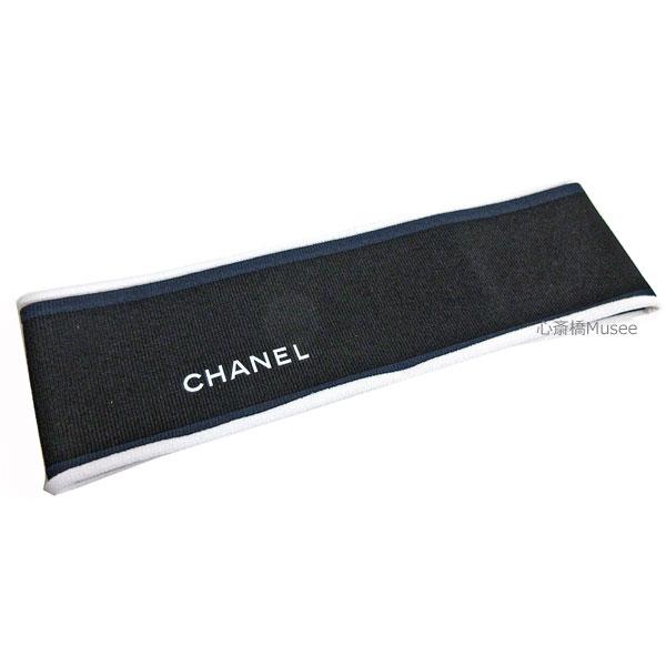 ≪新品≫CHANEL シャネル ヘアアクセサリー ヘアバンド ゴム 黒 ブラック 白 ブルー ライン AA0809 X12545 94305 箱 リボン ラッピング