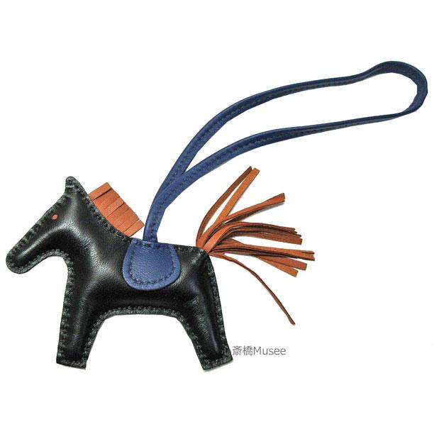 《新品》エルメス ロデオ 「GRIGRI RODEO」 馬 革 バッグ チャーム PM 黒 ブラック ゴールド ブルーサフィール 箱 リボン ラッピング