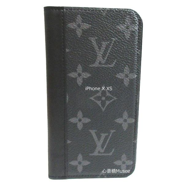 【キャッシュレス5%還元対象】≪新品≫ルイヴィトン フォリオ iPhone X XS 10 10s 二つ折り スマホ 携帯ケース エクリプス/ブラック レザー M68694 アクセサリー モバイル 箱 リボン ラッピング LOUISVUITTON アイフォン ビトン