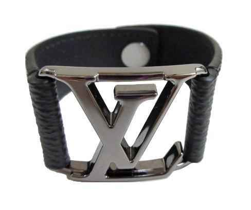 ≪新品≫ 箱のラッピング ルイヴィトン モノグラム・エクリプス 「ブラスレ・ホッケンハイム」メンズ レザーブレス 黒 19cm M6295D